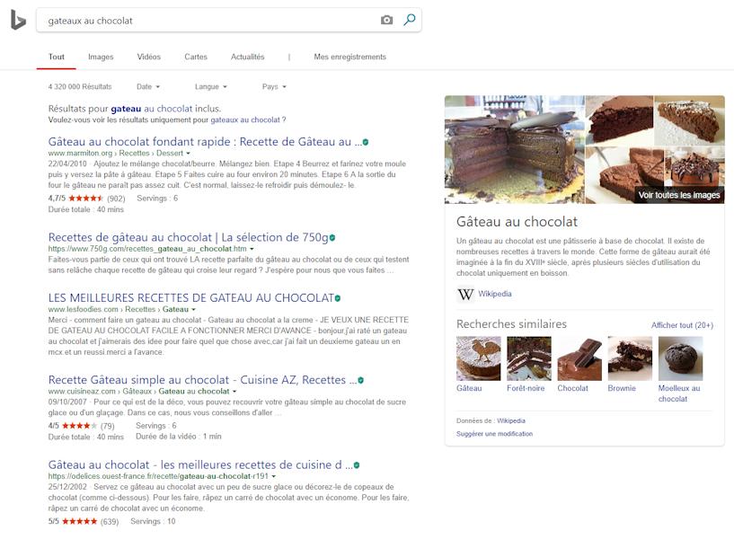 Suivi de position sur le moteur de recherche de Microsoft.